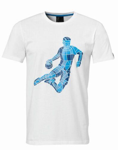 Kempa Handball Polygon Player Freizeit T-Shirt Herren Baumwolle Kurzarm weiß