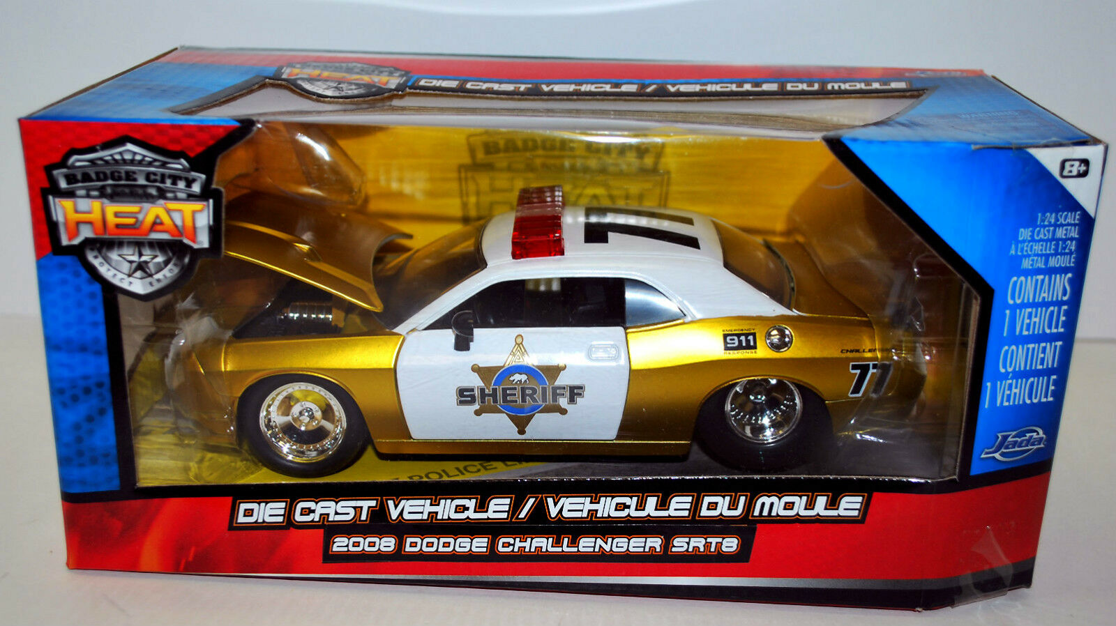 Jada calor 2008 Dodge Challenger SRT8 Sheriff Policía modelo de escala 1 24 oro En Caja Como Nuevo