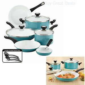 12 Pc Ceramic Cookware Set Pots Pans Non-Stick Glass Lids Aqua ...