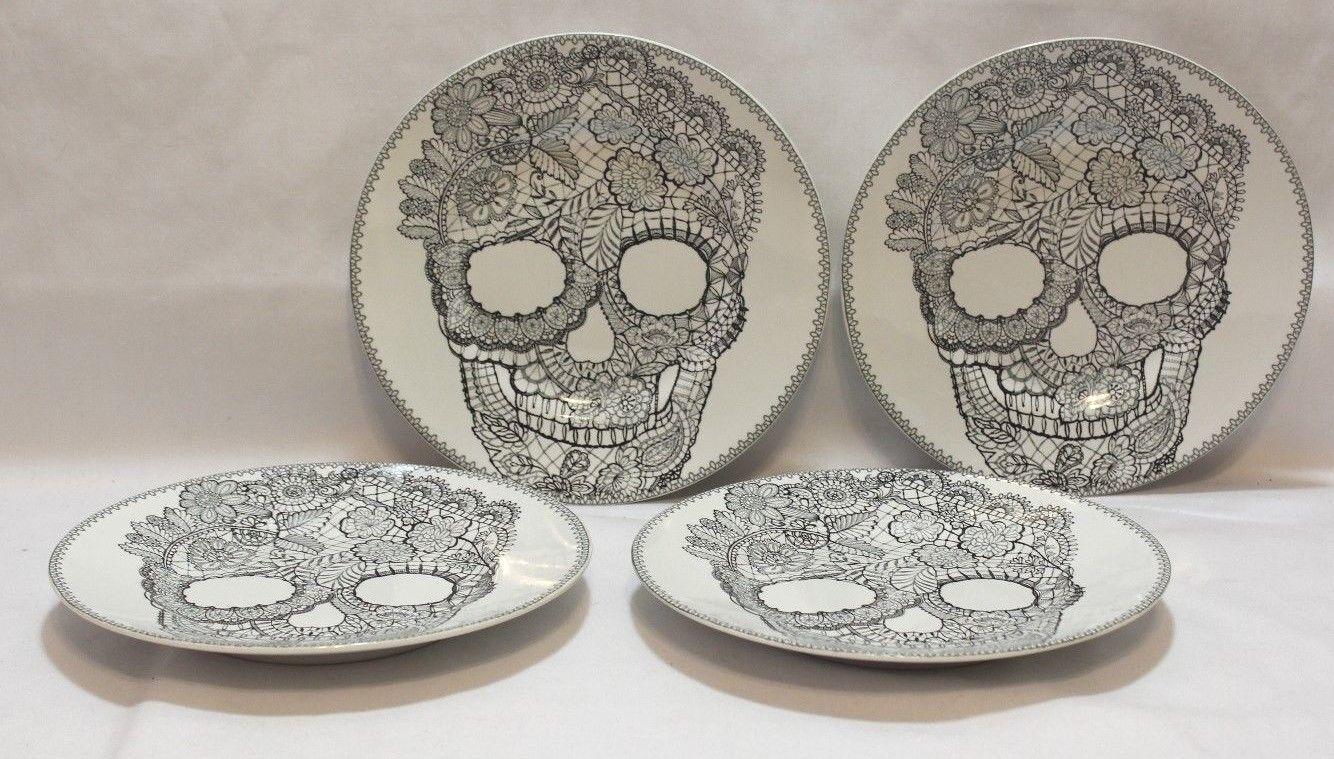 222 Fifth Skull Lace Halloween 8 1 2    Porcelain Salad Plates Set of 4 New 40bd6b