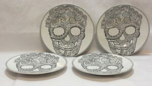 222-Fifth-Skull-Lace-Halloween-8-1-2-034-Porcelain-Salad-Plates-Set-of-4-New