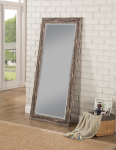 Large Full Length Mirror Distressed Antique Black Floor