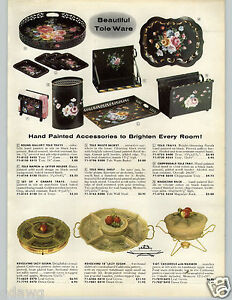 1958-PAPER-AD-Tole-Ware-Floral-Hand-Painted-Magazine-Rack-Chippendale-Tray-Waste