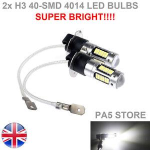 2x-H3-40-SMD-4014-Bombillas-LED-Xenon-Blanco-6000K-Lampara-Luz-Antiniebla-para-Coche-12V-Calidad-UK