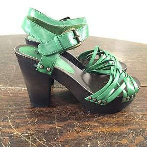 d242efaffa38 FAB EUC H M HM Green Strappy Leather Wood High Heel Platform Wedge ...