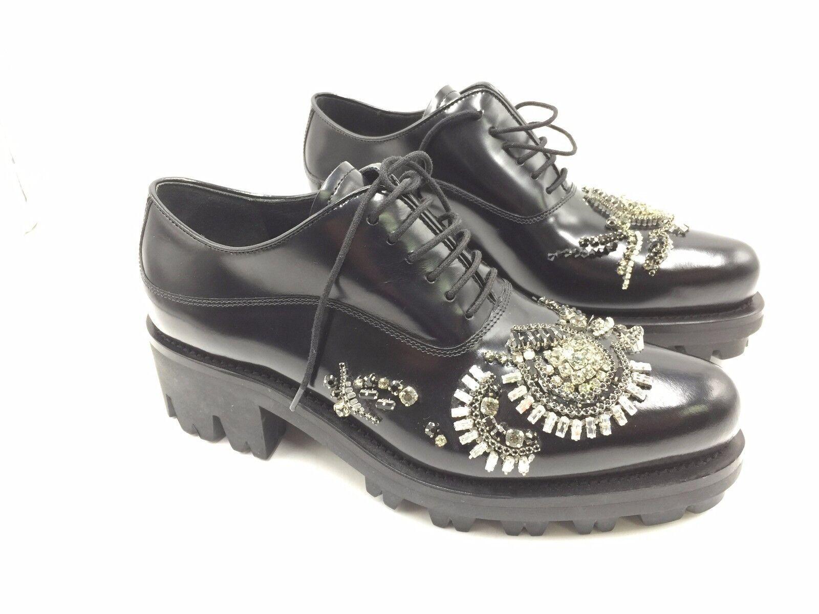 3400 Schuhe NEW PRADA Damenschuhe BLACK CRYSTAL Platform SNEAKERS LEATHER Schuhe 3400 37.5 7.5 c0d656