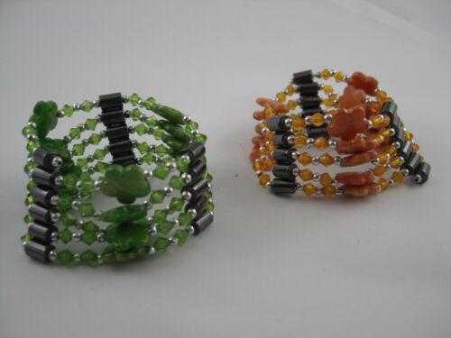Hämatit Magnet Ketten oder Armbänder Model Daisy grün oder orange