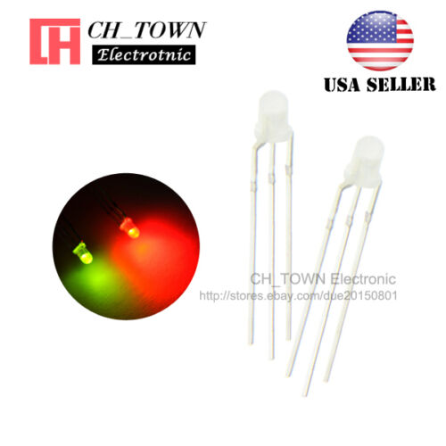 100pcs 3mm 3Pin Common Cathode Diffused Bi-Color Red Green Light Led Diodes USA