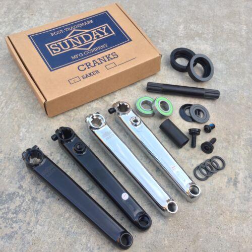 SUNDAY SAKER CRANK V2 BLACK OR CHROME BMX 3 PC CRANKS W// AMERICAN BOTTOM BRACKET