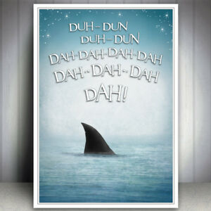 Details About Seaside Jaws Shark Funny Bathroom Sea Print Picture Humour Quote Art Poster Wall