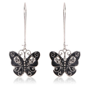 Retro-Punk-Gothic-Fashion-Jewelry-Butterfly-Skull-Ear-Dangle-Long-Earrings-UUXJ