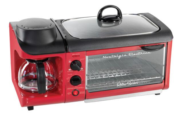 Nostalgia BSET300RETRORED Retro Series 3-in-1 Breakfast Station, Red