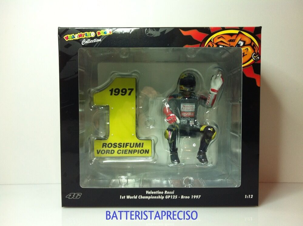 MINICHAMPS VALENTINO ROSSI 1/12 1997 1ST WORLD CHAMPION 125 BRNO APRILIA PMA NEW