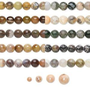 16 inch Strand of Round Natural Agate Genuine Gemstone Beads Small - Big