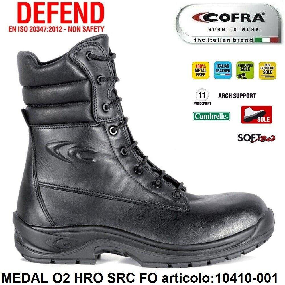 Scarpe Antinfortunistiche COFRA linea DEFEND tipo ranger modello MEDAL O2 HRO SRC FO pelle fiore idrorepellente , alzature per militari , calzature