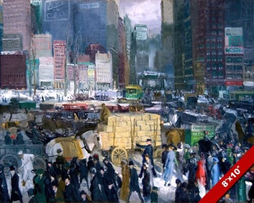 1900'S NEW YORK CITY STREET SCENE TIMES SQUARE PAINTING ART REAL CANVAS PRINT