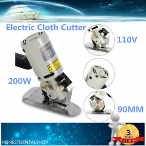 90mm Blade Electric Cloth Cutter Fabric Leather Rotary Cutting Machine 110V