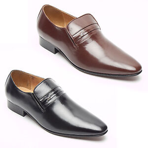 012054b3ebdf Lucini Mens Leather Slip On Shoes Smart Formal Party Wedding Shoes ...