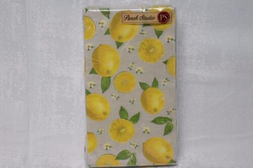 Punch Studio Lemon Grid Paper Buffet Napkins Guest Towels Set of 32