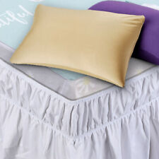 """15/"""" Solid Elastic Bed Skirt Dust Ruffle Wrap Around Twin Queen King Pink Princes"""