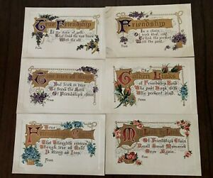 Lot-of-6-Friendship-Flowers-Antique-Greetings-Postcards-Unused-a448