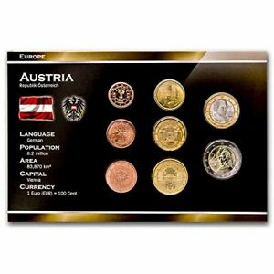 AUSTRIA-8-COINS-SET-1-2-5-10-20-50-EURO-CENT-1-2-EURO-2002-2015-UNC