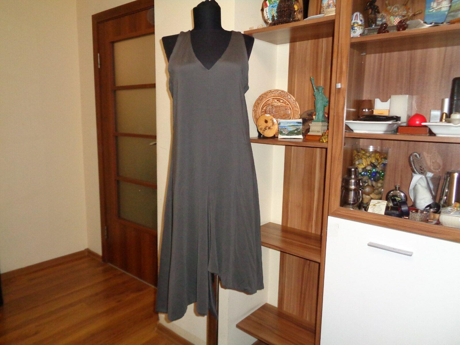 SARAH PACINI STRETH SPANDEX JERSEY A -LINE SAMMAN SLIT FRONT ASYMMETRIK DRESS