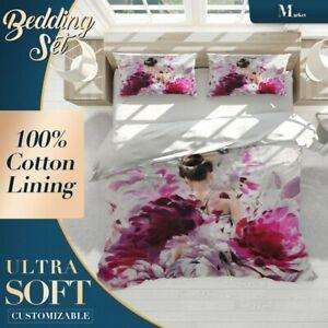 Ballet-Dancer-Floral-Flowers-Purple-Quilt-Cover-Double-Bed-Single-Queen-Size