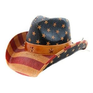 897dbefd9e2 UNISEX USA AMERICAN FLAG COWBOY HAT -- VINTAGE LOOK --- NEW - SHAPE ...