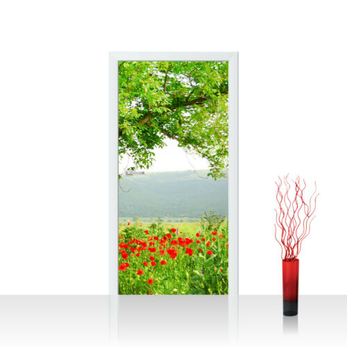 Türtapete Türposter Türfolie Natur Mohn Feld Baum Wald Bäume rot grün no 90
