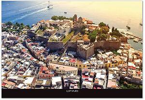 CARTOLINA-MARE-FOTO-AEREA-LIPARI-ISOLE-EOLIE-SICILIA-SICILY-POSTCARD