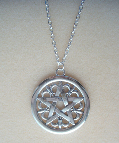 "Wiccan Pagan Gothic Large Gothic Pentagram Pendant 34/"" Long Chain Necklace"