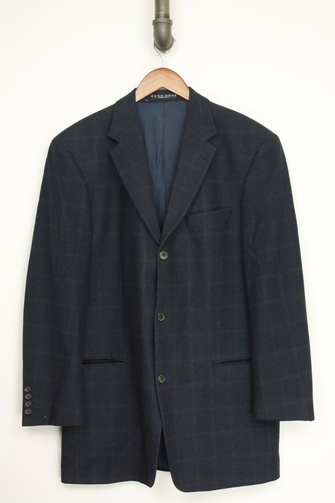 Hugo Boss Mens Sport Coat 44L Navy bluee Brown Plaid Wool Cashmere Guabello