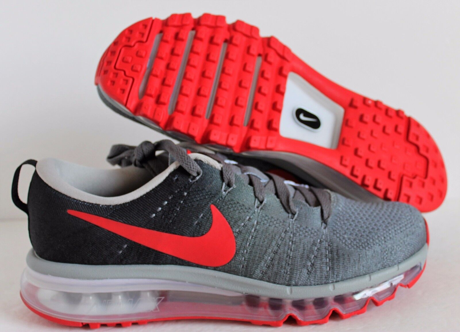 Nike Men's Air Max Flyknit ID Charcoal-Black-Red  sz 7.5 [845615-992]