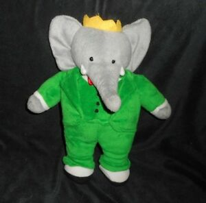 13 Babar Elephant King Green Grey Stuffed Animal Plush Toy Doll