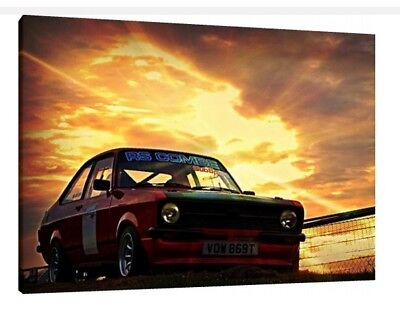 Rally Framed Picture Poster Art Ford Escort MK2 30x20 Inch Canvas