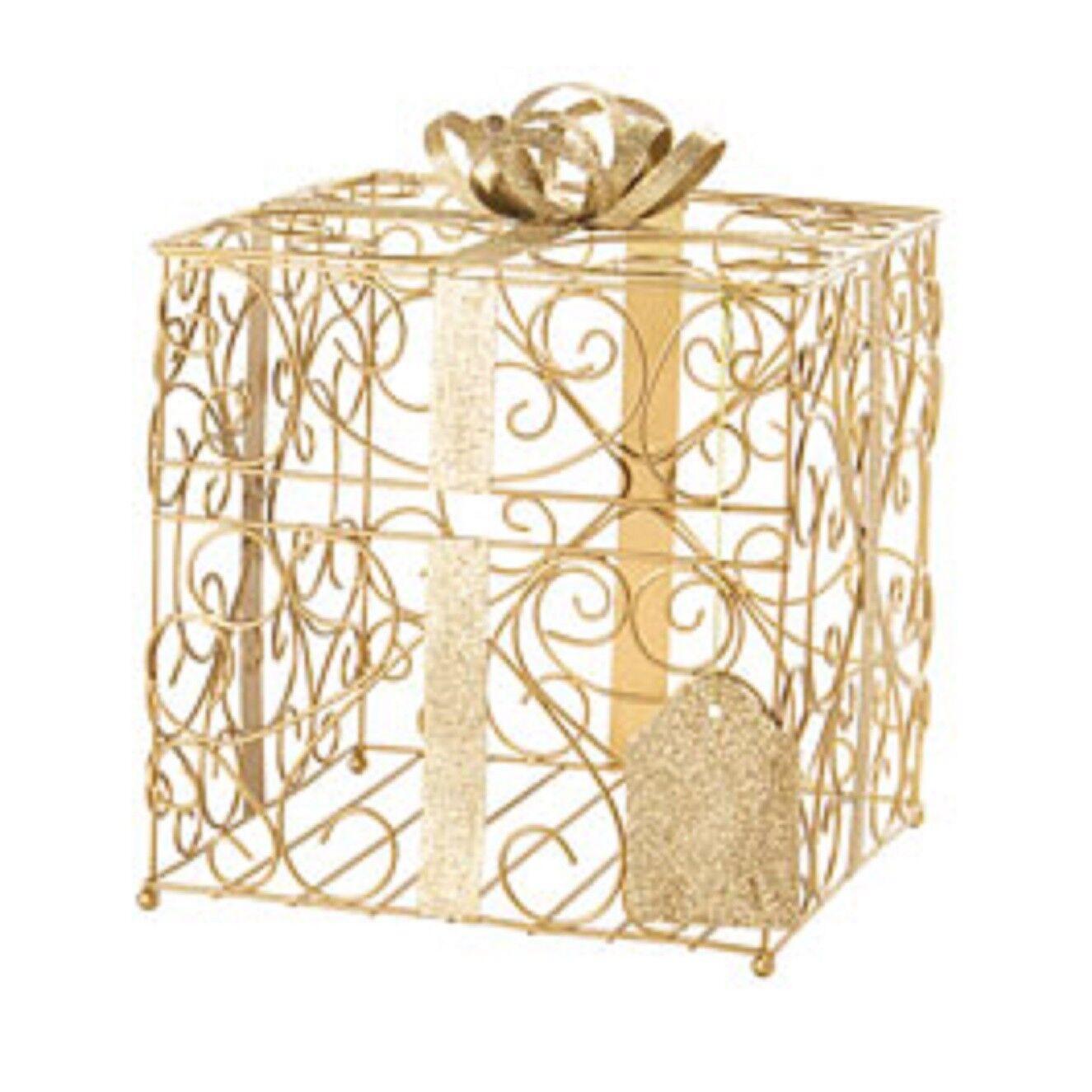 Nouveau Grand paillettes en métal doré réception avec porte-carte Wishing Well Box