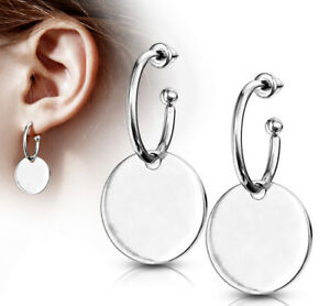 1 Paar Creolen Edelstahl breit silber Ohrringe Hoops glänzend groß flach Damen