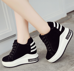 Heels Casual Running Lace Wedge Up Hidden Nuovo Womens sportive Scarpe Sneakers High qxHfwZnECv