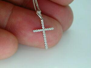 0-55Ct-Round-Cut-Diamond-Cross-Pendant-Free-Chain-For-Women-039-s-9K-White-Gold-Over