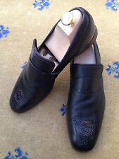 Gucci Mens Shoes Brown Leather Loafers UK 8 US 9 EU 42 Interlocking GG