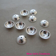 10 sterling silver 925 8mm shiny jewelry bead cap findings