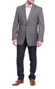 Calvin Klein Mens Slim Fit Gray Textured Two Button Wool Blazer Sportcoat