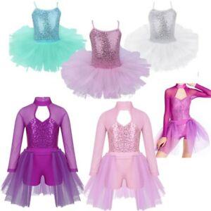 Girls Gymnastics Ballet Dress Leotard Tutu Skirt Party Dance Fancy Costume 3-12