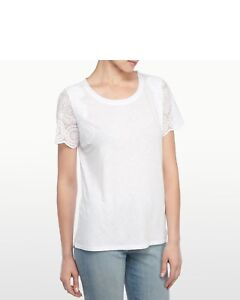 a452b659f06 NWD NYDJ Women s Mesh Lace Sleeve Top Short Sleeve White Size SMALL ...