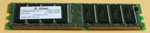 1 von 1 - 256 MB DDR-RAM PC-2100U non-ECC  266 MHz 'Infineon HYS64D32900GU-7-B'
