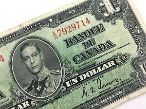 1937-Canada-One-1-Dollar-EN-Prefix-Circulated-Coyne-Towers-Banknote-R201