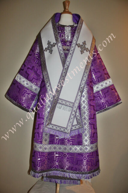 READY TO SHIP! Orthodox Bishop Vestments Purple Silver Metallic Brocade for tall