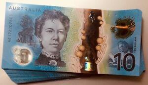 NEW-2017-Australia-Low-A-Prefix-10-dollar-notes-UNC-from-RBA-Bundle-AK