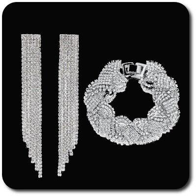 Gehorsam Luxus Schmuckset Armband Xxl Ohrringe Kette Silber/klar Strass Braut Hochzeit
